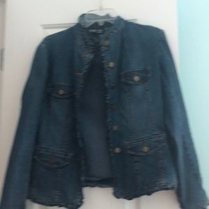 Ruffled denim jacket. Petite small.